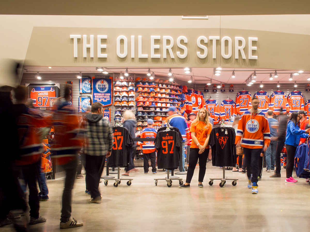 Four Oilers Stores dot the main concourse, with a handful of others scattered throughout the complex.