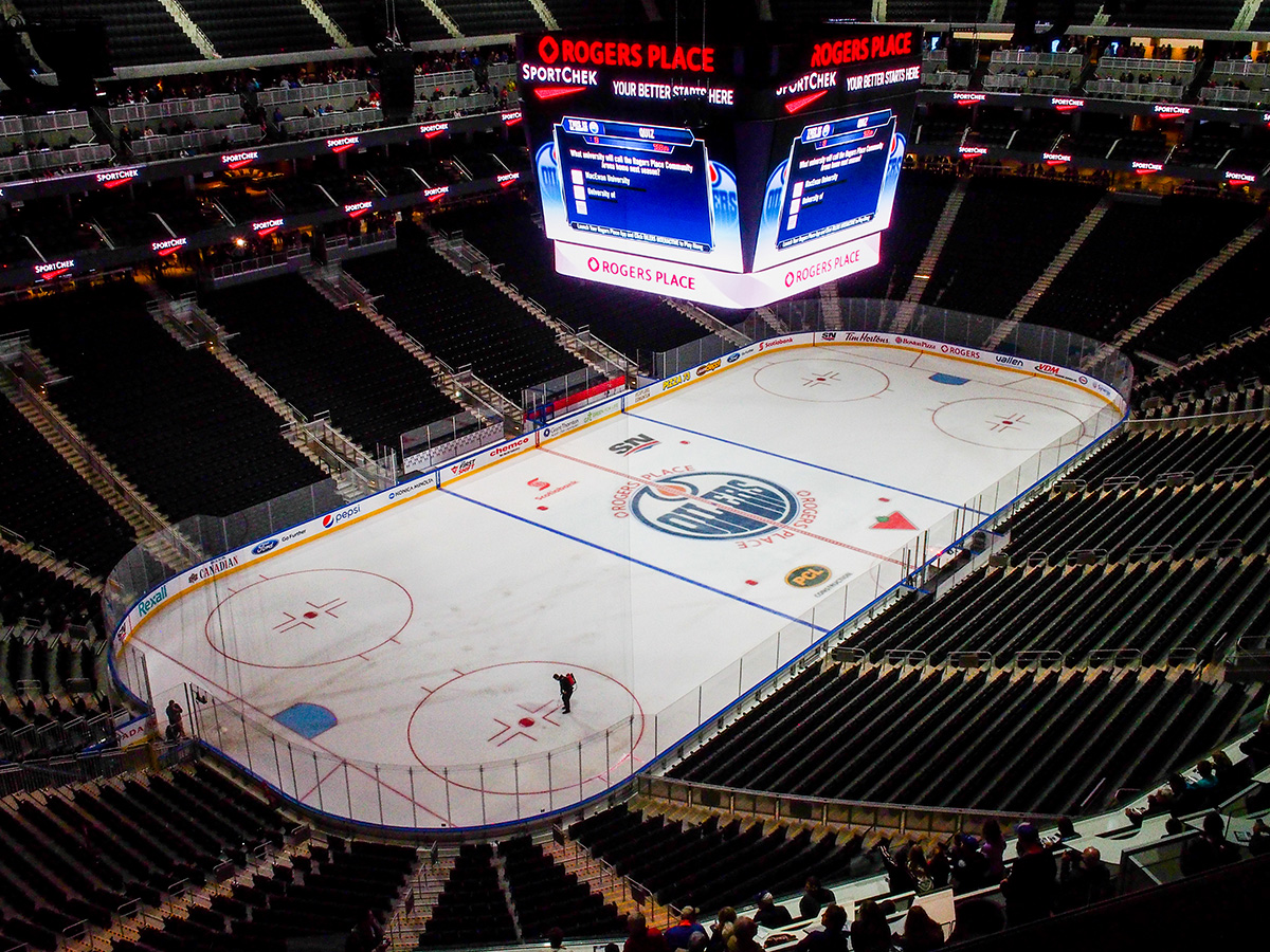 The arena has a seating capacity of about 18, 500 for hockey games and 20 000 for concerts. The scoreboard is almost quadruple the size of the one in Rexall Place.