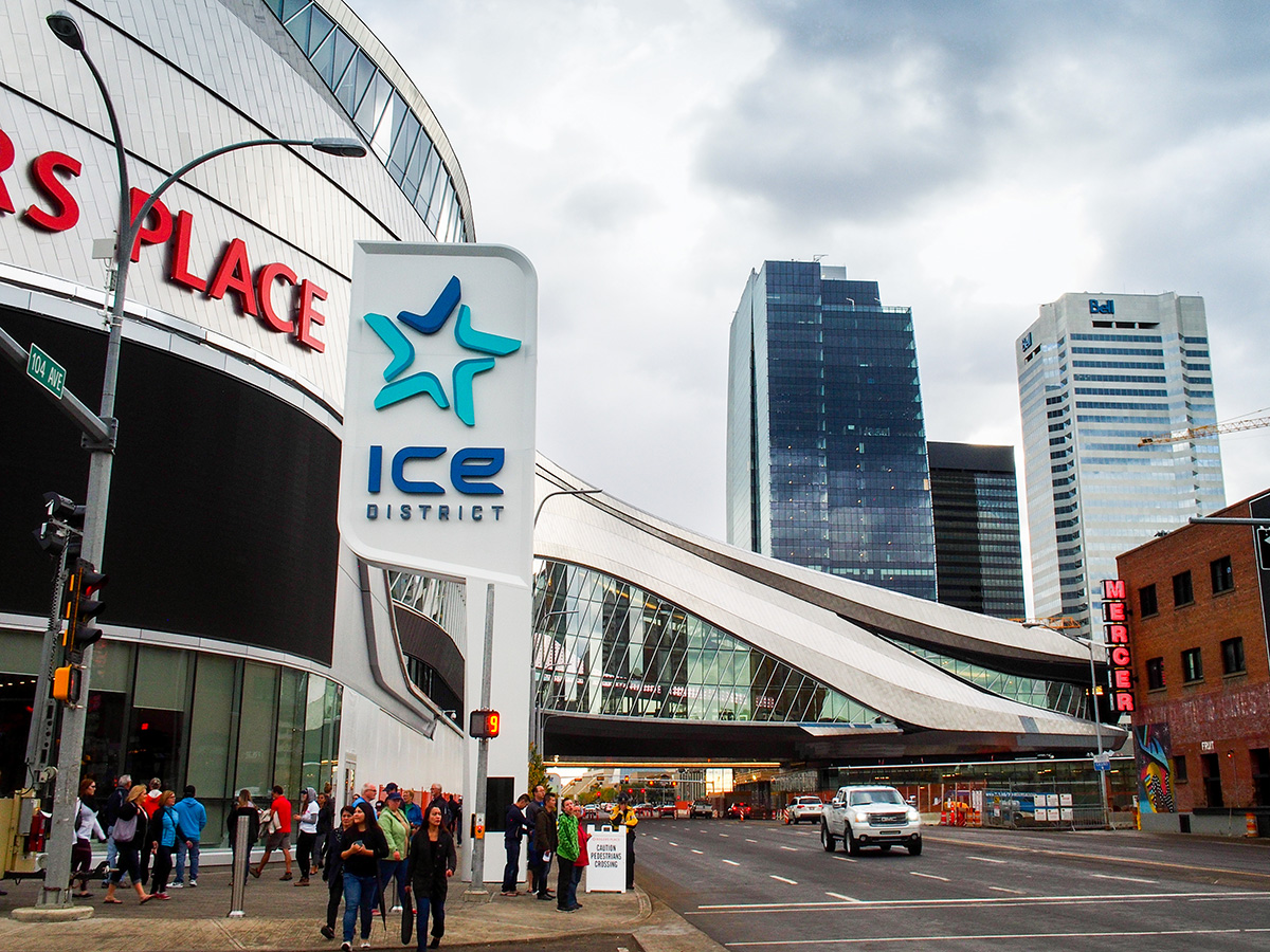 Rogers Place sits in ICE District, an area that is to become a hub for sports, entertainment, and shopping in the downtown core. A hotel, office towers and residential units round out the current development plans.
