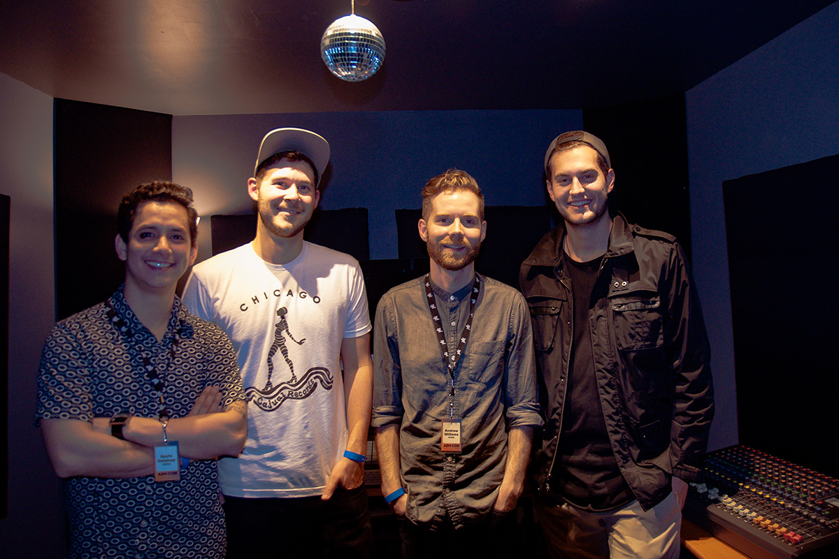 (Left to right): Gavin Delainey (Dailey), Trevor Oslo, Andrew Williams (NVS, Dunmore Park), and David Assaly (Luca), from Night Vision Music Academy.