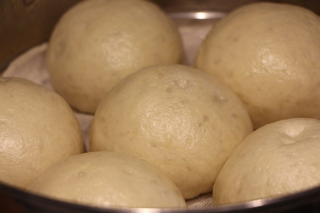 The cooked red bean buns